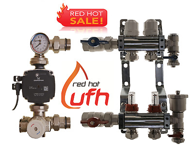underfloor heating manifold 2 port with Grundfos A rated pump/mixer