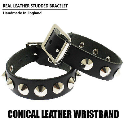 Punk Gothic Fashion Conical Metal Studded Cuff Bracelet Leather Mens Wristband