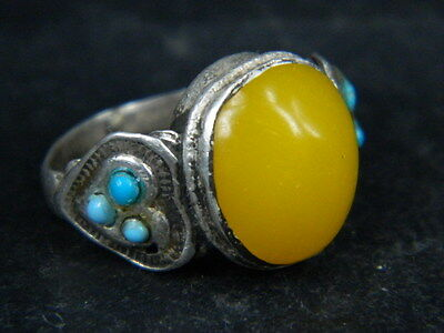 Ancient Post Medieval Silver ring With Stones 1800 AD    ##AZ19##