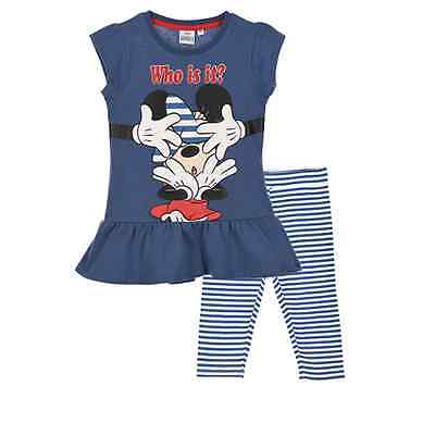 Completo Estivo Corto Minnie T-Shirt + Leggings Disney 3/8 Anni - Ep1170Blu
