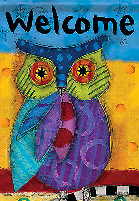 "Bright Owl Welcome House Flag Spring Colorful Decorative Banner 28"" x 40"""