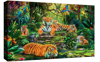 Colourful Tigers Wildlife in Jungle Canvas Wall Art Picture Print -Various Sizes