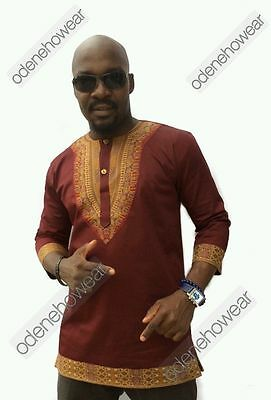 Odeneho Wear Men's  Polished Cotton Top With Dashiki Design. African Clothing