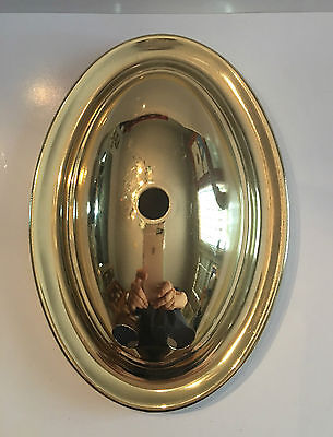Vintage: NEW OVAL BRASS PLATED Metal Stamped Sconce Back Plate w/3 hole (30+yrs)