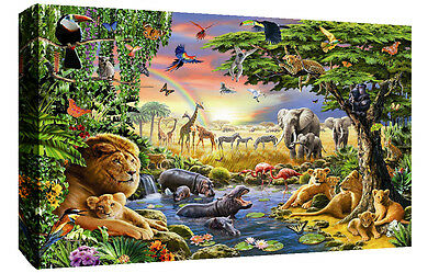 Colourful Animals Wildlife in Jungle Canvas Wall Art Picture Print Various Sizes