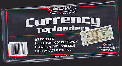 (25) Regular Dollar Bill Currency Top Load Rigid Holders - Toploader Protector