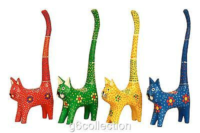 "7"" Cat Long Tail Cute Ring Holder Hand Dot Painting Wooden Hand Carved Colorful"