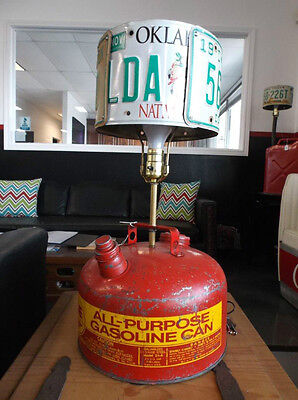 Real cool man cave lamp gas can oklahoma plate