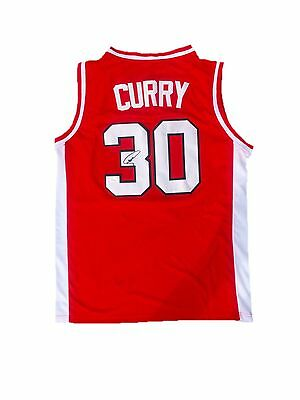 Stephen Curry Davidson Wildcats (Away Red) Signed Jersey Jsa