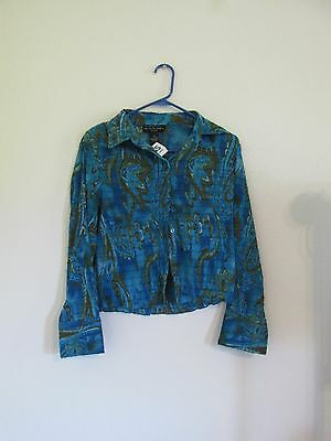 New Women's Separates By New York Design Co Teal Blue Blouse Pm Petite Medium