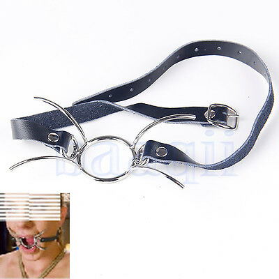 New Black Faux Leather Open Mouth Spider O Ring Gag Fetish Restraint DA
