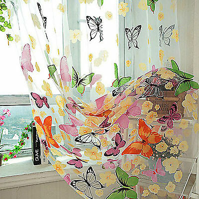 New Room Divider Butterfly Sheer Curtain Panel Window Balcony Tulle