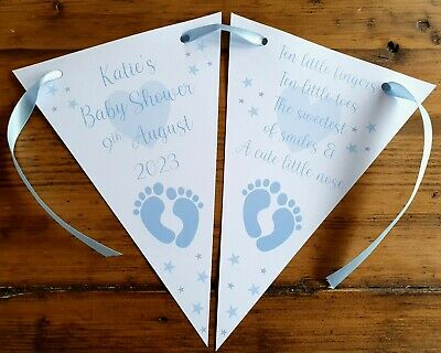 Personalised Baby Shower Party Banner Bunting Decoration Blue Boy