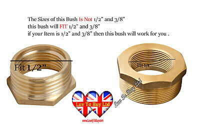 "Bush ,Brass Bush  3/8` Female x 1/2"" Male BSP   Reducing Bush  Converter"
