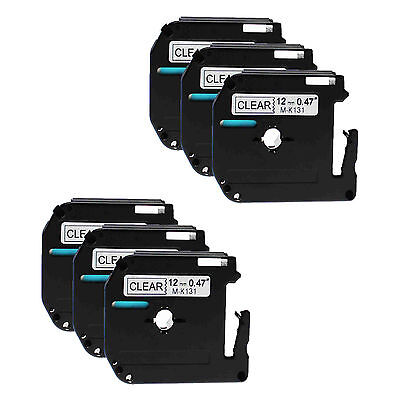 Black on Clear Tape For Brother 12mm M-K131 MK131 PT-85 P-touch Label Maker 6PK