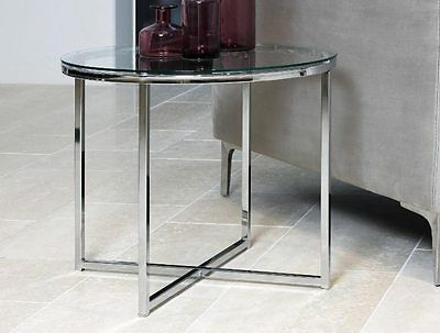 Round Glass Coffee Table Side End Lamp Chrome Modern Solid Living Room Furniture