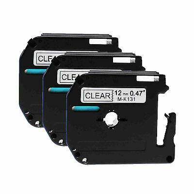 Black on Clear Tape For Brother 12mm M-K131 MK131 PT-110 P-touch Label Maker 3PK