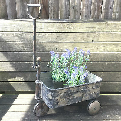Antique Vintage Style Metal Garden Cart Trolley Plant Stand Garden Patio Planter