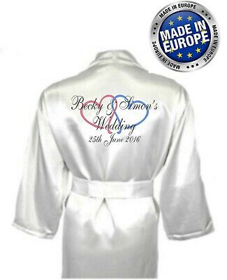 Personalised Double Heart Bridal Wedding Robe / Dressing Gown - Children's sizes