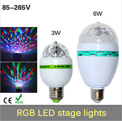Full Color 3W 6W E27 LED Crystal Stage light Auto Rotating lamp AC 85-265V