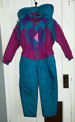 Vintage 80's Colorblock Hooded Outerstuff Winter Snowsuit Youth Kids Girls 12