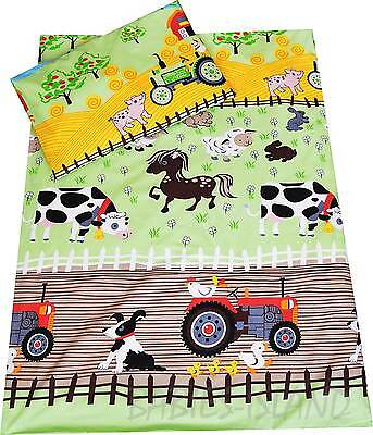 Cot/Cot Bed Bedding set Duvet cover+Pillowcase Baby, Toddler/ curtains FARM