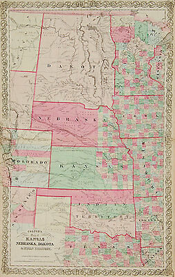 1866 ORIGINAL Colton map of the Great Plains territories and states, Very Scarce
