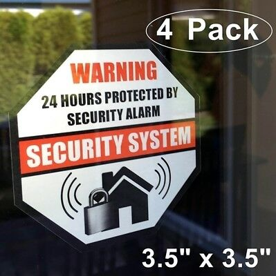 6 Home Business Security Burglar Alarm System Window Warning Vinyl Sticker Decal