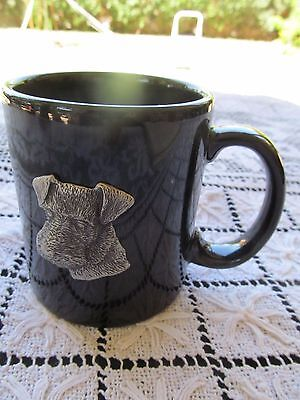 AIREDALE TERRIER MUG COFFEE CUP BLACK CERAMIC holds 10 oz raised dog