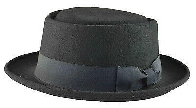 K Men's Wool Felt Pork Pie Fedora Medium Black