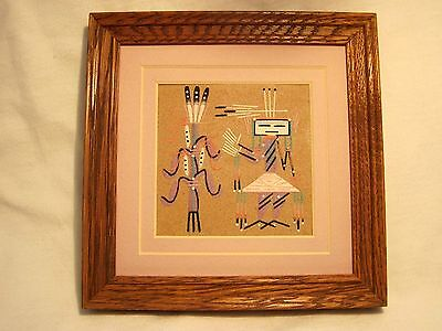 "Framed Signed Navajo Native American Indian Sand Painting ""Seed Blessing"" W/ COA"