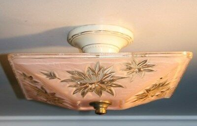 Antique pink glass square semi flush art deco light fixture ceiling chandelier