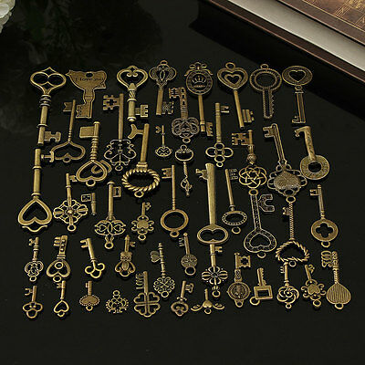 70pcs/set Antique Vintage Old Look Bronze Skeleton Keys Fancy Heart Bow Pendant
