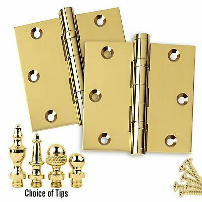Door Hinges 3.5 x 3.5 Solid Brass Ball Bearing Polished Brass with Tips Set of 2