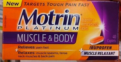 Motrin Platinum Ibuprofen + Muscle Relaxant 40 pills Canadian made