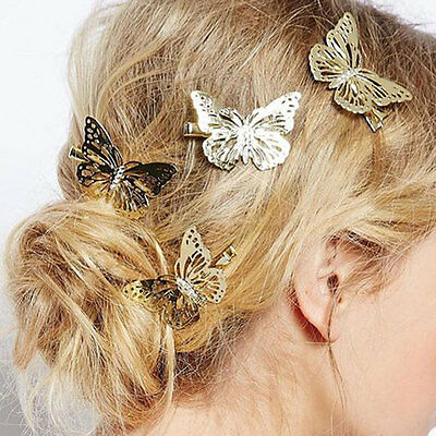 Gold Butterfly Hair Clips Hairpins wedding barrette accessories