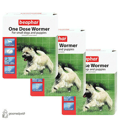 3 x Beaphar One Dose Wormer for Small Dogs and Puppies, Each Pack - 3 Tablets