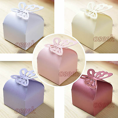 50 / 100pcs Butterfly Pattern Favor Gift Candy Boxes Wedding Party Baby Shower