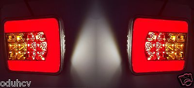 2x LED Rear Neon Tail Lights Lamps e-mark for Truck Trailer Chassis Van Pickup