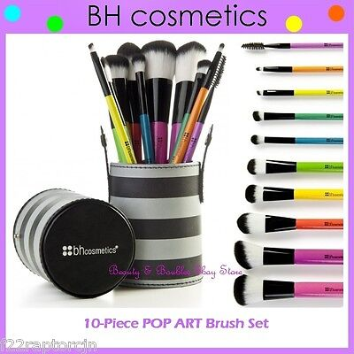 NEW BH Cosmetics 10-Piece POP ART Brush Set w/Striped Cup Holder FREE SHIPPING
