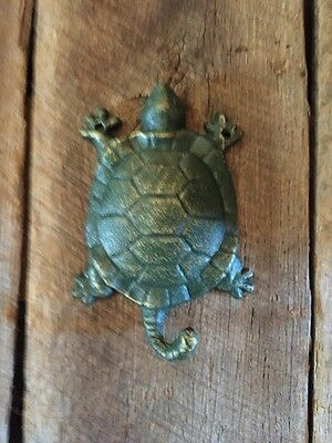 4 Hand Painted Heavy Cast Iron StyleTURTLE Coat Hat Rack Towel Sea