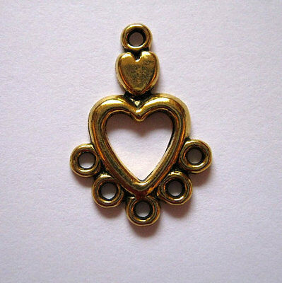 10 Antique Gold 5 Hole Heart Shaped Jewelry Connectors 13x19mm