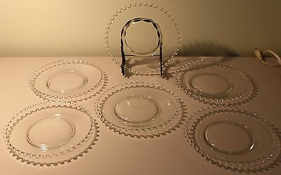 Vintage Imperial Candlewick Glass Dessert Plates 6