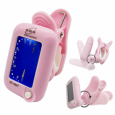Clip-on LCD Electronic Digital Chromatic Guitar Bass Violin Ukulele Tuner Pink