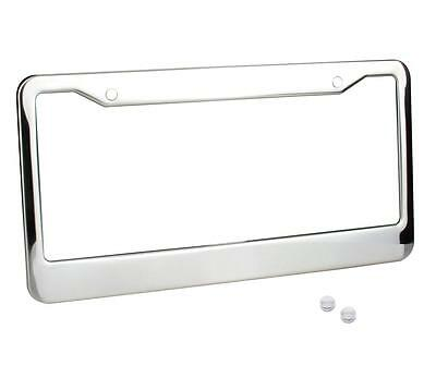 1 chrome stainless steel metal license plate frame tag cover with screw caps