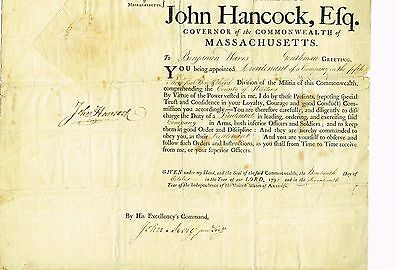 John Hancock Governor Of Massachusetts Signed Appointment FROM 1792! PSA/DNA LOA