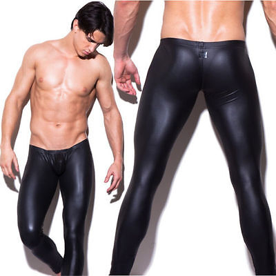 New Mens Sexy Black PU Pants Faux Leather Slim Tight Trousers Low Rise Size M-XL