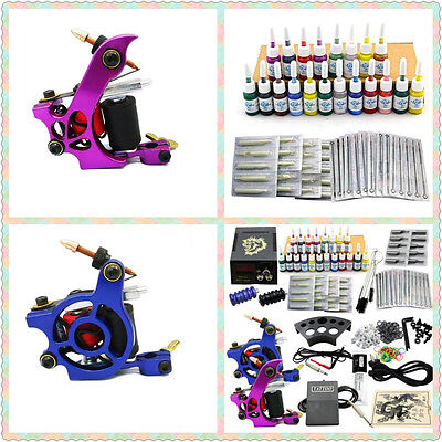 Tattoomaschine komplett Set 2 Maschine Tattoo Gun 20 Farben Inks JM15 DE Lager