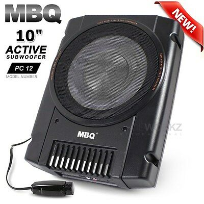 """MBQ PC12 10"""" 150W RMS Active Sub Compact Enclosed Car Subwoofer Bass w/Remote"""