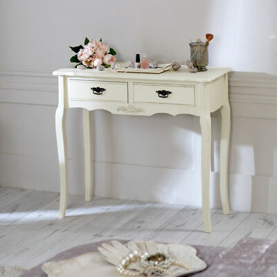 cream 2 drawer console table wooden dressing shabby french chic hall country
